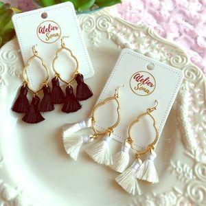 White Tassel Hoop Earrings - Black Sold!